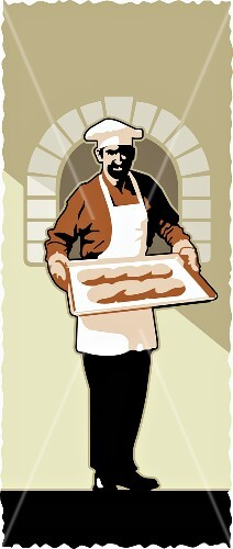 A baker in front of an oven holding two baguettes on a tray (illustration)