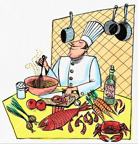 A chef in a kitchen with pots, pans, fish, seafood, vegetables and spices (illustration)