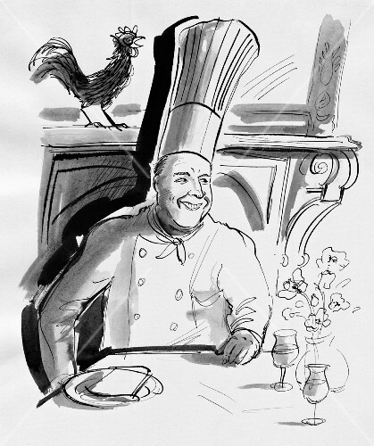 A chef at table with a cockerel in the background (illustration)