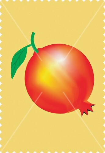 A pomegranate against a yellow background (illustration)
