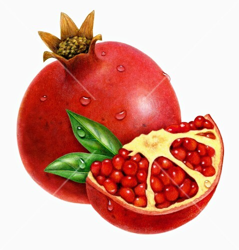 A whole pomegranate and a slice of pomegranate with green leaves (illustration)