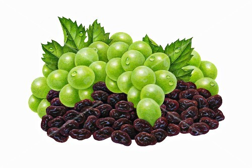 Green grapes with leaves and raisins (illustration)