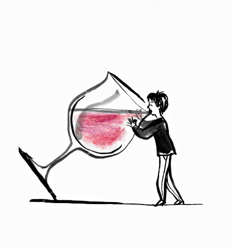 A woman drinking wine from a giant glass (illustration)
