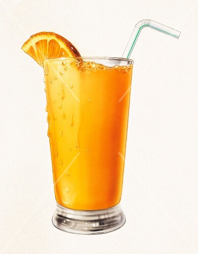 A glass of orange juice with an orange wedge and a straw (illustration)