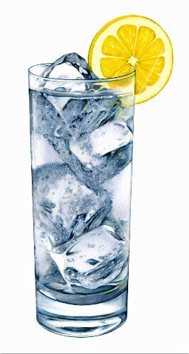 A glass of water, ice cubes and a lemon slice (illustration)
