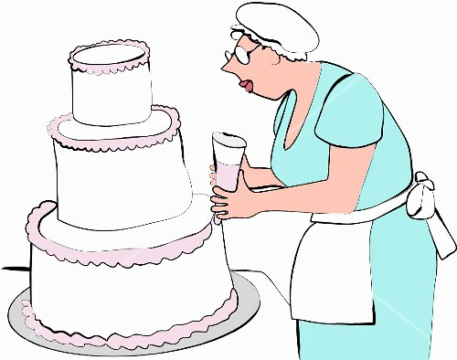 A chef decorating a 3-tier cake (illustration)