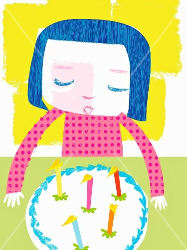 A girl blowing out the candles on a birthday cake (illustration)