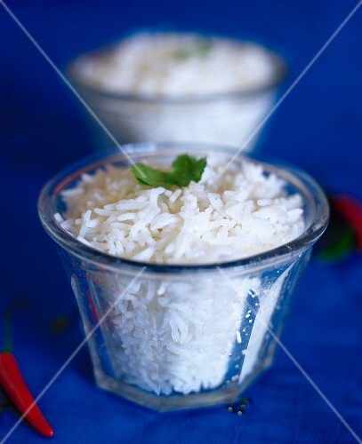 Cooked white rice, red chilli,