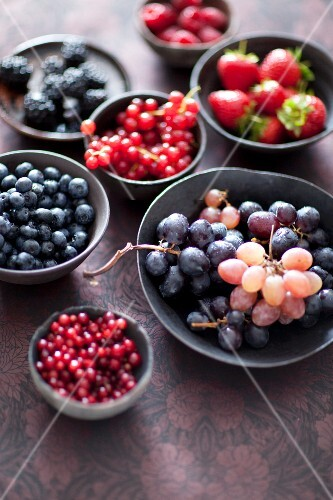 Various berries and grapes