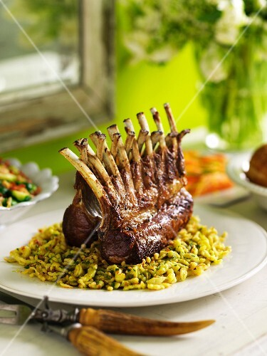 Rack of Lamb Over Spaetzle on Buffet Table