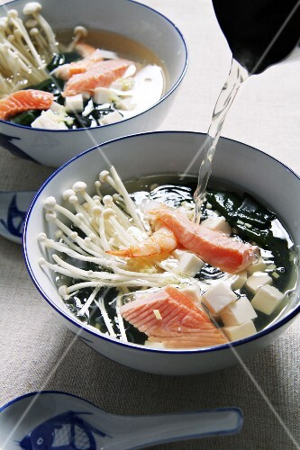 Miso soup with salmon and mushrooms (Japan)