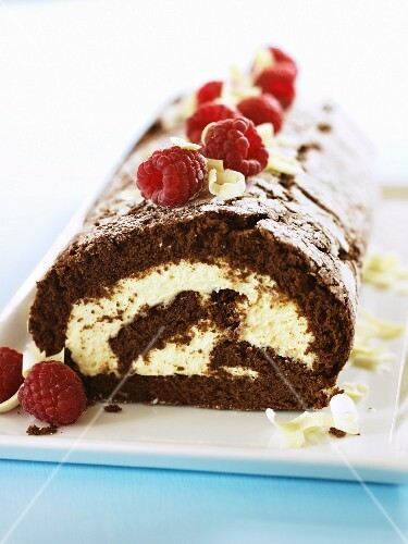 Chocolate Swiss roll with raspberries