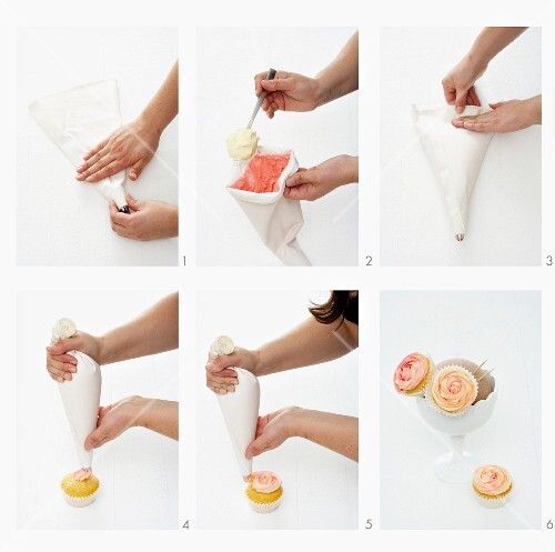 A cupcake bouquet being made