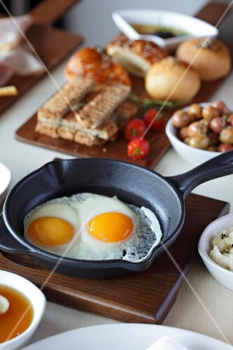 Turkish breakfast with fried eggs