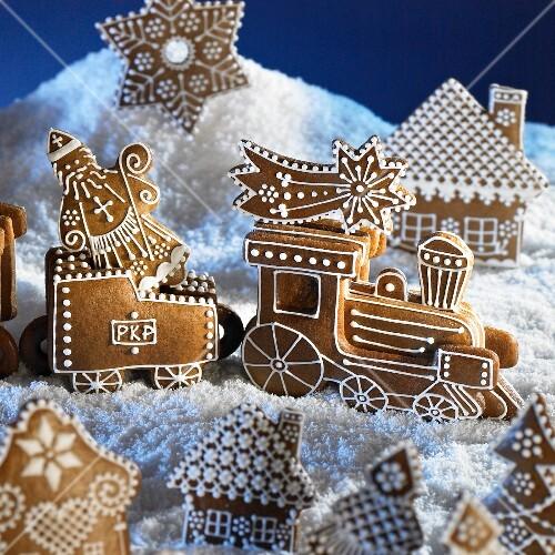 weihnachtliche lebkuchen landschaft mit eisenbahn bild. Black Bedroom Furniture Sets. Home Design Ideas