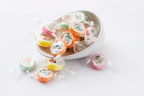 Sugar bonbons in cellophane paper