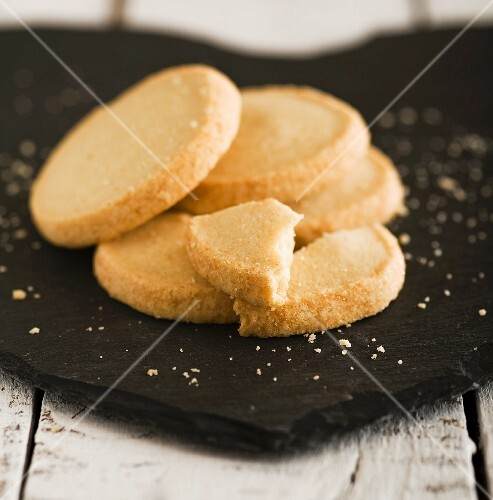 Shortbread biscuits on a slate surface