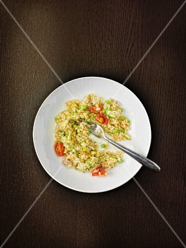 Risotto with peas and chicken