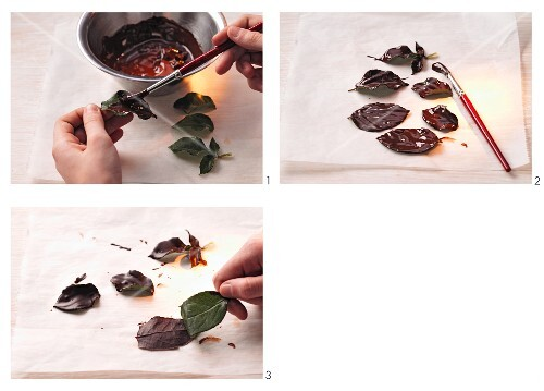 Making chocolate leaves