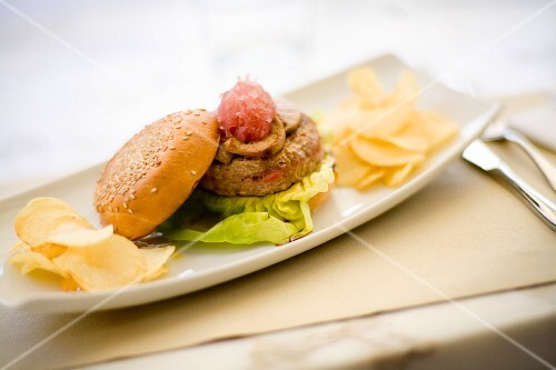 Gourmet hamburger with foie gras and crisps