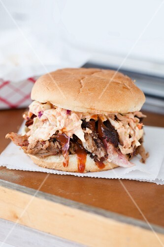 Pulled Pork Sandwich with Barbecue Sauce and Cole Slaw on a Bun