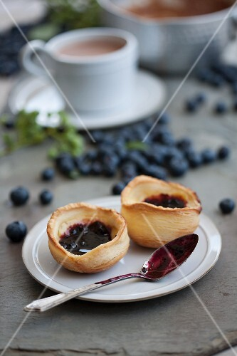 Blueberry cases with cream cheese and blueberry jam