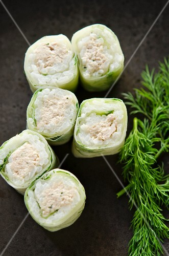 Mini spring rolls with cucumber and tuna