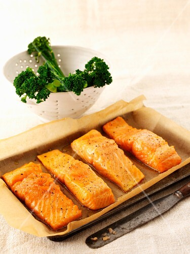 Salmon fillets and tenderstem broccoli