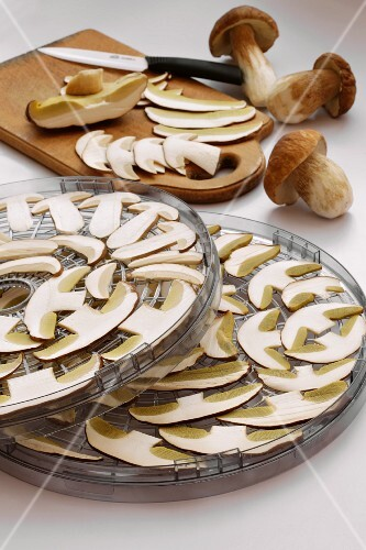 Sliced porcini mushrooms laid out to dry