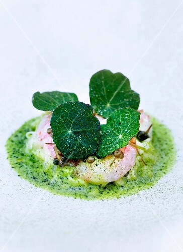 Prawns with herb sauce, capers and nasturtiums