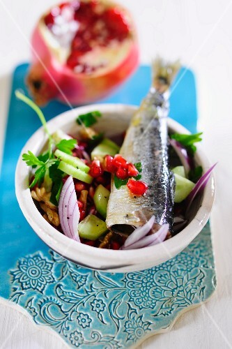Mixed salad with pomegranate and herring