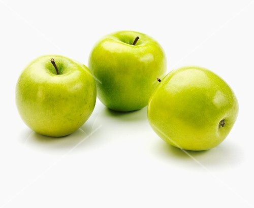 Three apples of the variety 'Granny Smith'