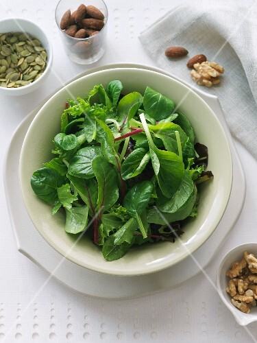 Plain Mixed Green Salad with Assorted Nuts