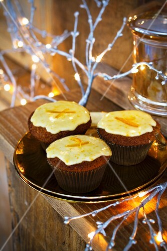 Nut and orange cupcakes for Christmas