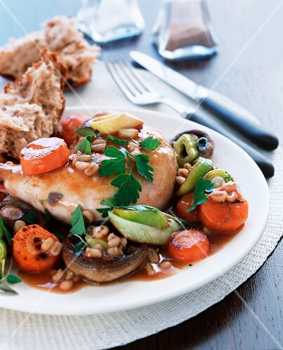 Chicken, barley and vegetable stew
