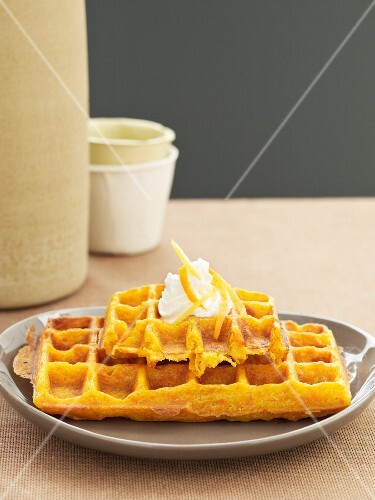 Carrot waffles with a blob of cream
