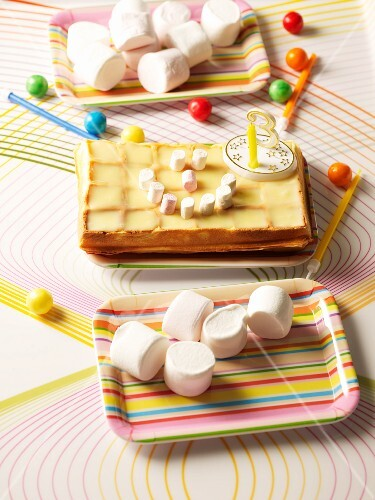 Waffles with marshmallows for a birthday treat