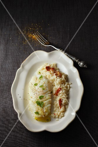 Cod fillet with risotto and chorizo