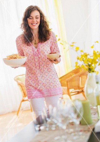 Woman preparing home party