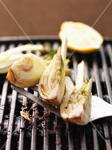 Barbecued fennel on the barbecue