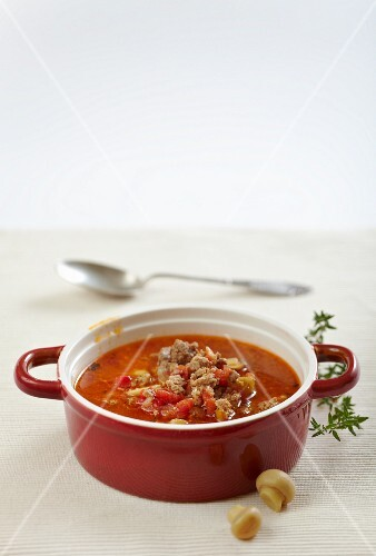 Ground beef soup with tomatoes and mushrooms