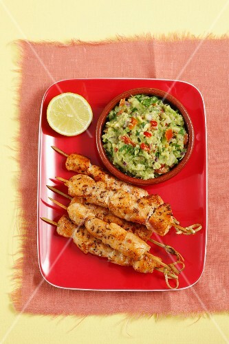 Chicken skewers with guacamole