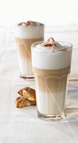Two glasses of cafe latte