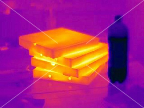 An infra-red image of pizza boxes