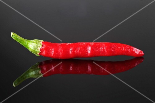 A red chilli pepper with its reflection