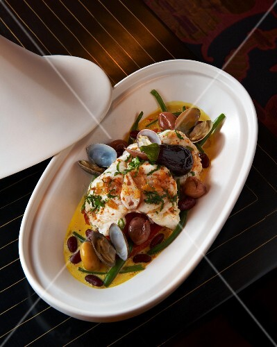 Monk fish tagine with clams