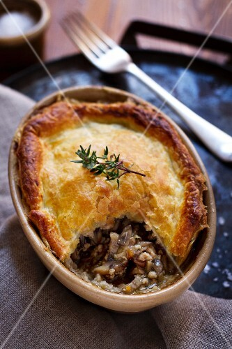 Veal pie with mushrooms