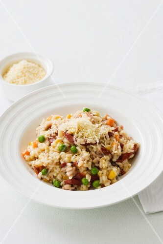 Risotto with spring vegetables and parmesan