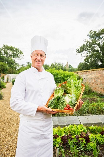 A chef harvesting vegetables in the garden
