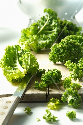 Kale on a chopping board